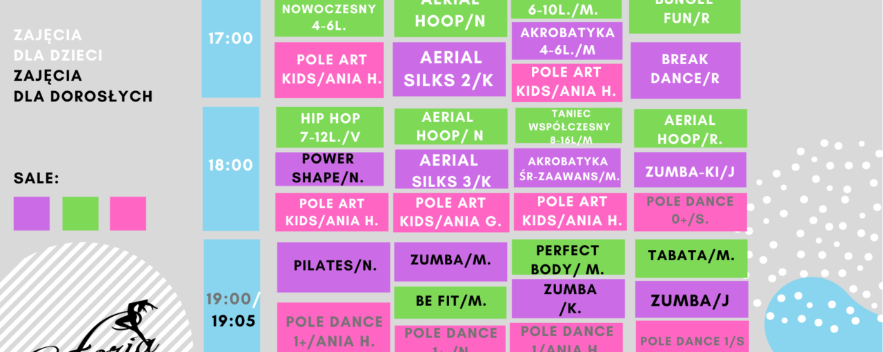 GRAFIK WAKACYJNY- START 5.07 zajęcia dla dzieci! 28.06- zajęcia dla dorosłych!