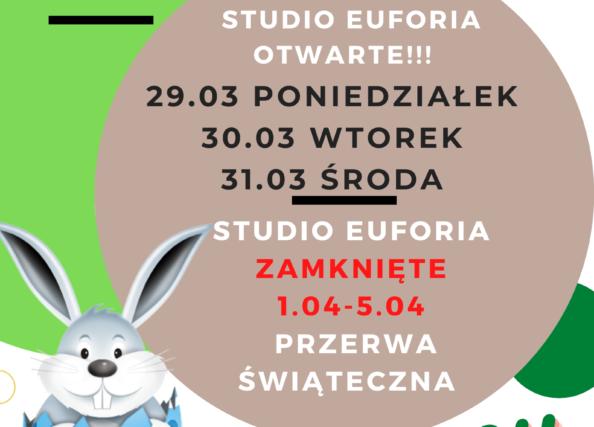 Zajęcia odbywają się bez zmian (29.03-31.03), przerwa świąteczna od 1.04-5.04.